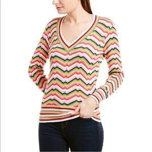 Trina Turk Multicoloured Striped V-Neck Sweater